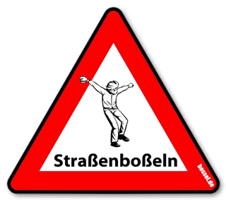 "Warnschild Kunststoff Straßenboßeln 600mm ""Boßler"""
