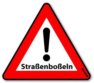 """Warnschild Kunststoff Straßenboßeln 600mm """"Achtung Straßenboßeln"""""""