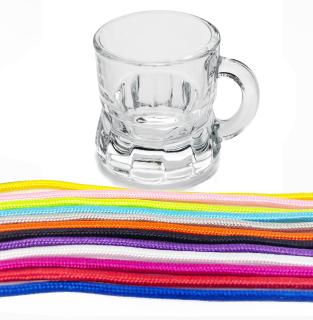 Schnapsglas mit Band (Kordel), aus Glas, Henkelstamper