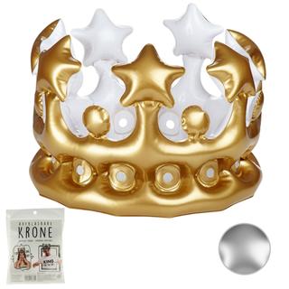 Kohlkönig Krone in gold und silber - aufblasbar