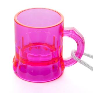 Schnapsglas am Band, Henkelstamper, Pinnchen, 2cl zum Umhängen in PINK