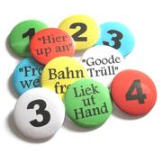 Buttons für Boßelgruppen